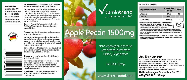 vitamintrend - Pectina de manzana 1500mg - ¡¡Bote para 4 MESES!! - fibra natural - sin estearato de magnesio - 300 tabletas - beneficiosa para la flora ...