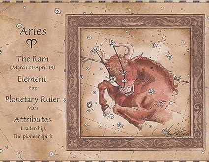 Vintage Zodiac Signs Astrology Beige Wallpaper Border Retro