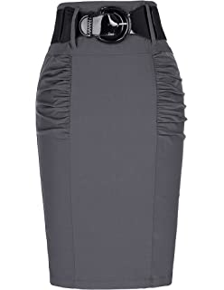 c1ca8caa40 Women s Stretchy Pencil Skirt Side Pleated Business Skirts with Belt  KK271(28 Color)