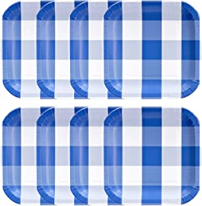 "Havercamp Blue and White Plaid Paper Party Plates | 8 Count | 9"" Square 