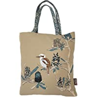 Designer Shopping Tote Bag – Australian Certified Organic Cotton – Kookaburra & Banksia Design – Multi-purpose Bag Reusable Foldable Washable – by The Linen Press