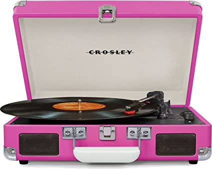 The Crosley Cruiser DELUXE Portable Turntable w//Bluetooth in PINK