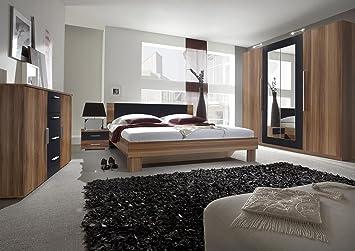 Schlafzimmer-Set VERA Schwebetürenschrank Kommode Nachttisch Bett (Bett 160  x 200 cm, nußbaum rot / schwarz)