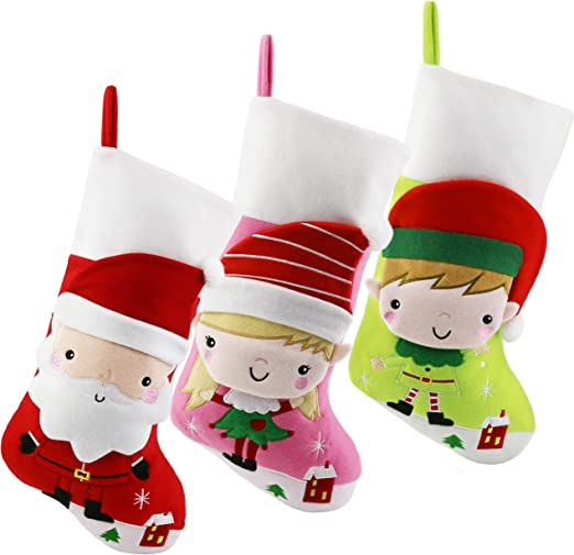 Bstaofy Wewill Christmas Stockings for Kid Baby Children Lovely Cartoon  Santa Girl Elf Boy Elf,16 Inch,Pack 3