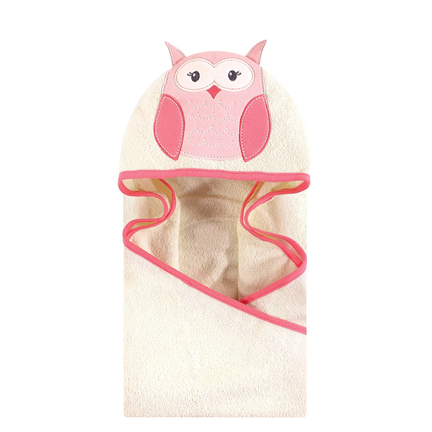 Hudson Baby Animal Face Hooded Towel for Baby Girls Pink Owl