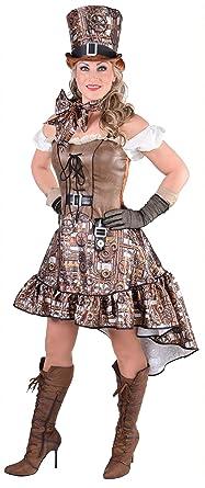 m217111 l braun mit zahnrader damen steampunk kostum kleid gr l