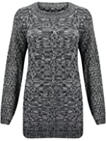 (M) WOMENS LONG SLEEVE CHUNKY DIAMOND CABLE KNITTED LADIES JUMPER SWEATER KNIT TOP | CHARC - Chunky cable knit LONG jumper | ML 12/14