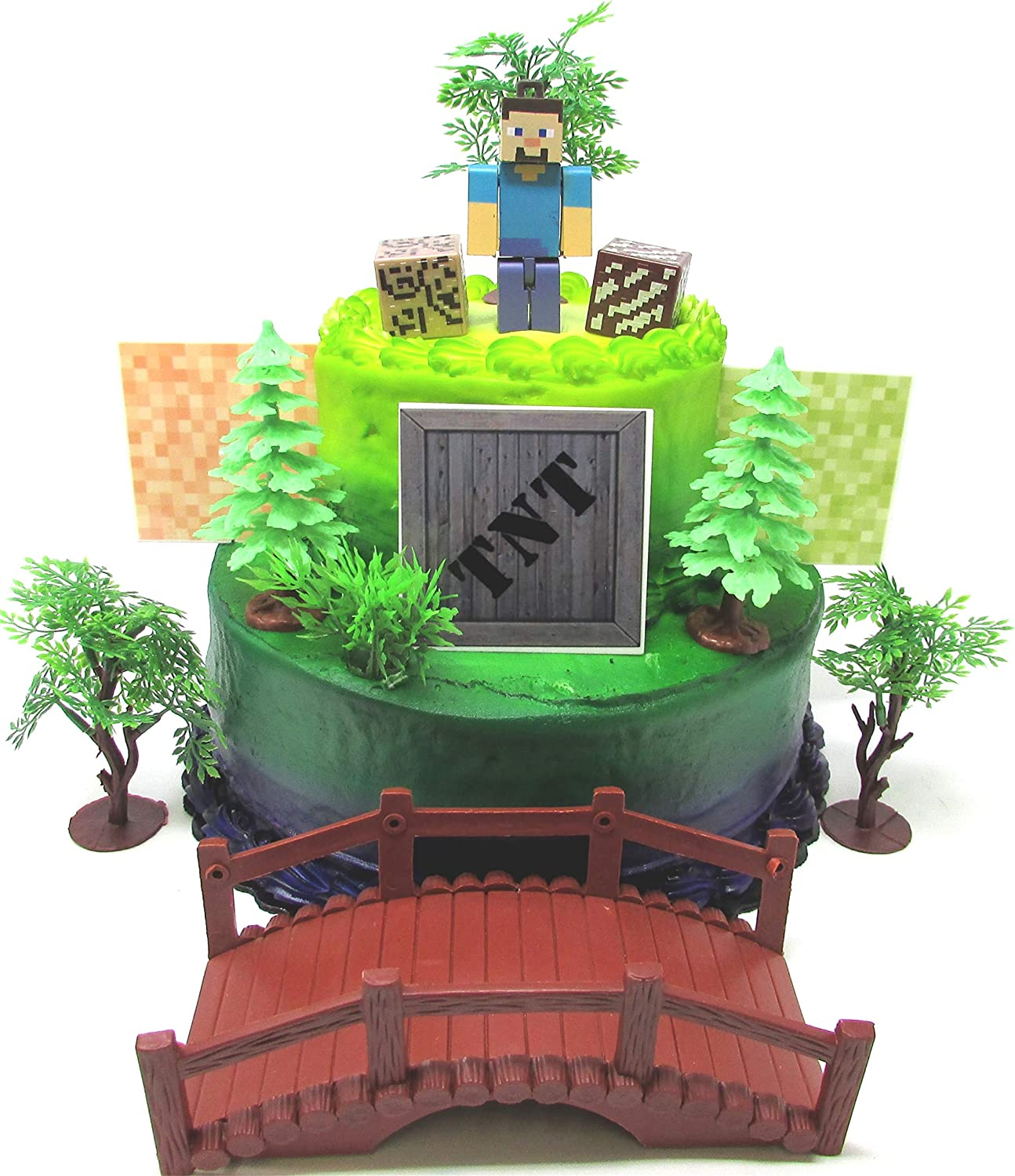 MINECRAFT Birthday Cake Topper Set Featuring STEVE and Themed