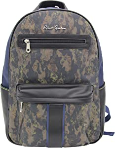 "ROBERT GRAHAM Men's Travel w/Luggage Strap, Faux Leather Trim, Luxury ""Alban"" – Printed Designer Interior, Camo Navy Laptop Backpack, One Size"