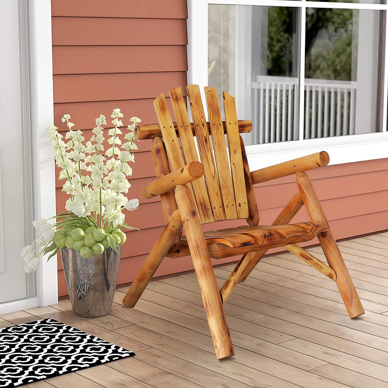 ALI VIRGO Chair Outdoor, Porch Log Stool, Ergonomics Heavy Duty Antique Wood Lawn Leisure for Lounge Garden Patio Backyard Balcony Furniture, Brown