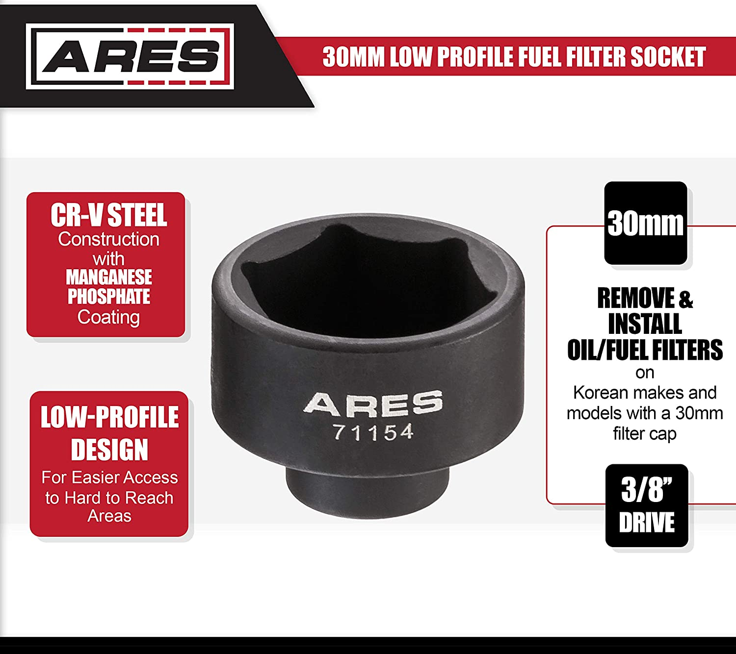Low Profile Design for Easy Access ARES 71152-27mm Low Profile Fuel Filter Socket Chrome Vanadium Steel with Manganese Phosphate Coating to Resist Rust and Corrosion