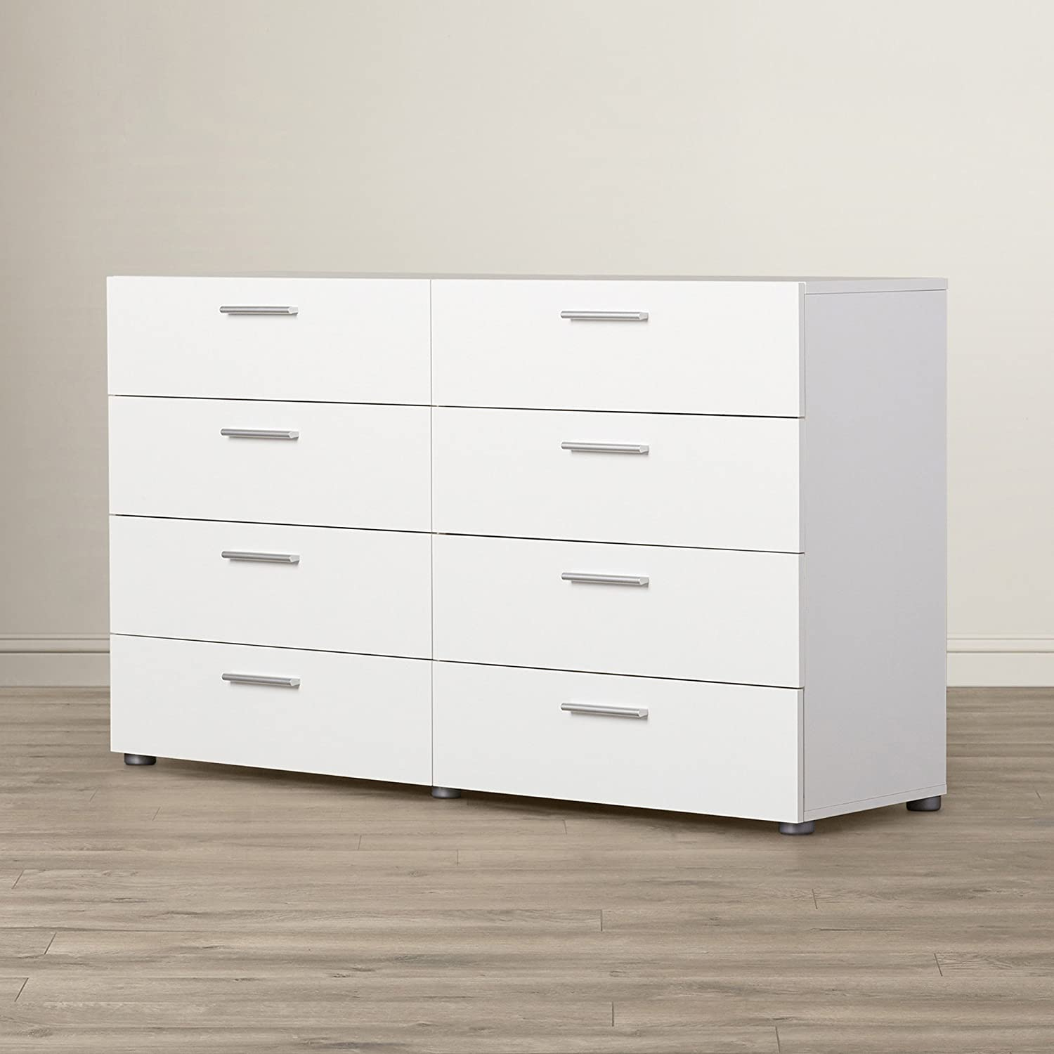 Amazon com white dresser with 8 drawers contemporary piece of bedroom furniture storage chest clothes organizer modern design 55 x 32 x 16