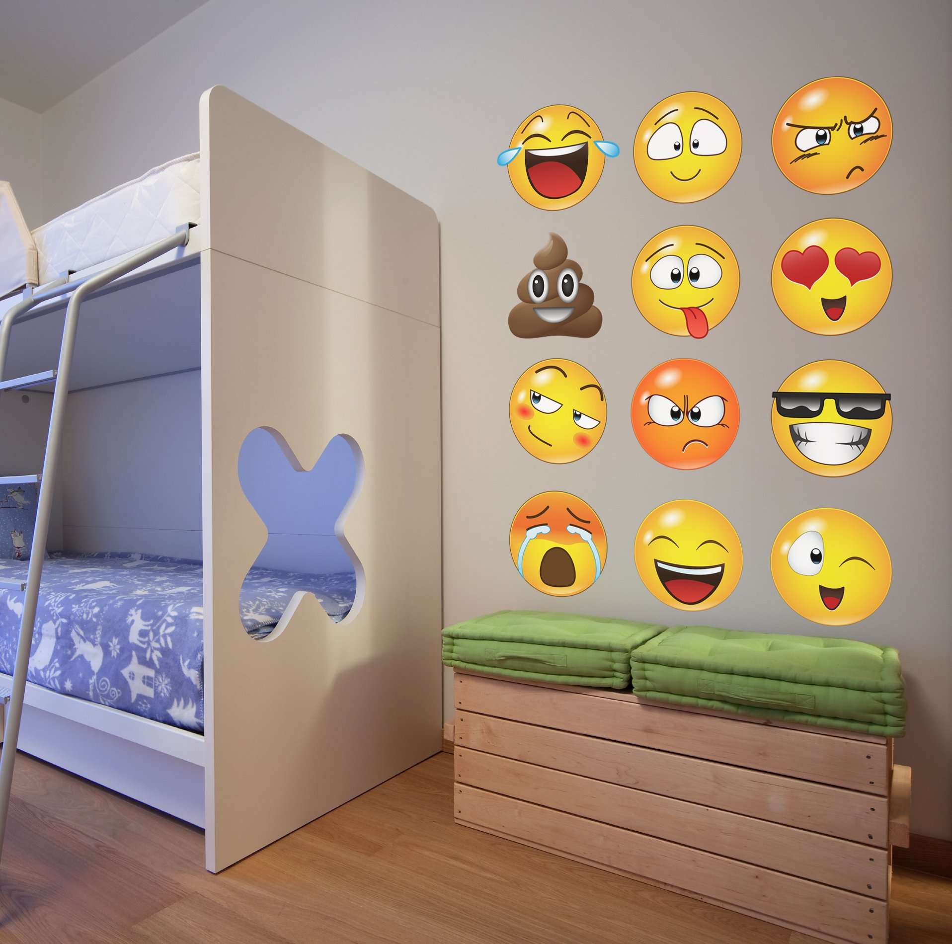 12 Large Emoji Wall Decal Faces Sticker #6052s 10in X 10in Each by Stickerbrand (Image #6)