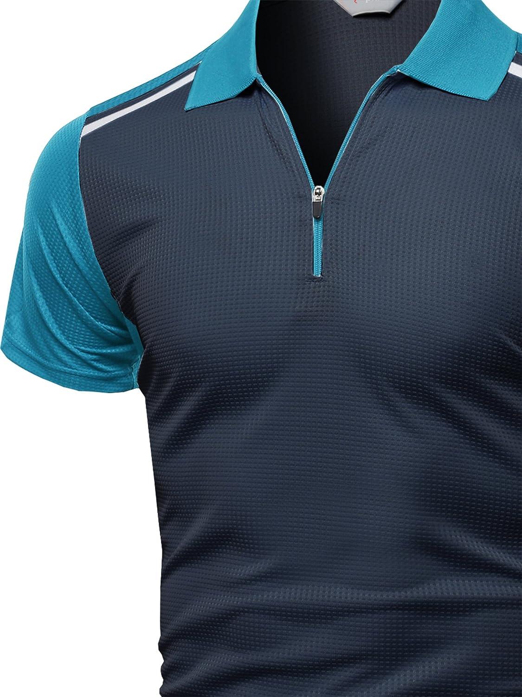 Xpril Mens Coolmax 2 Tone Collar Zipup Polo T-Shirt