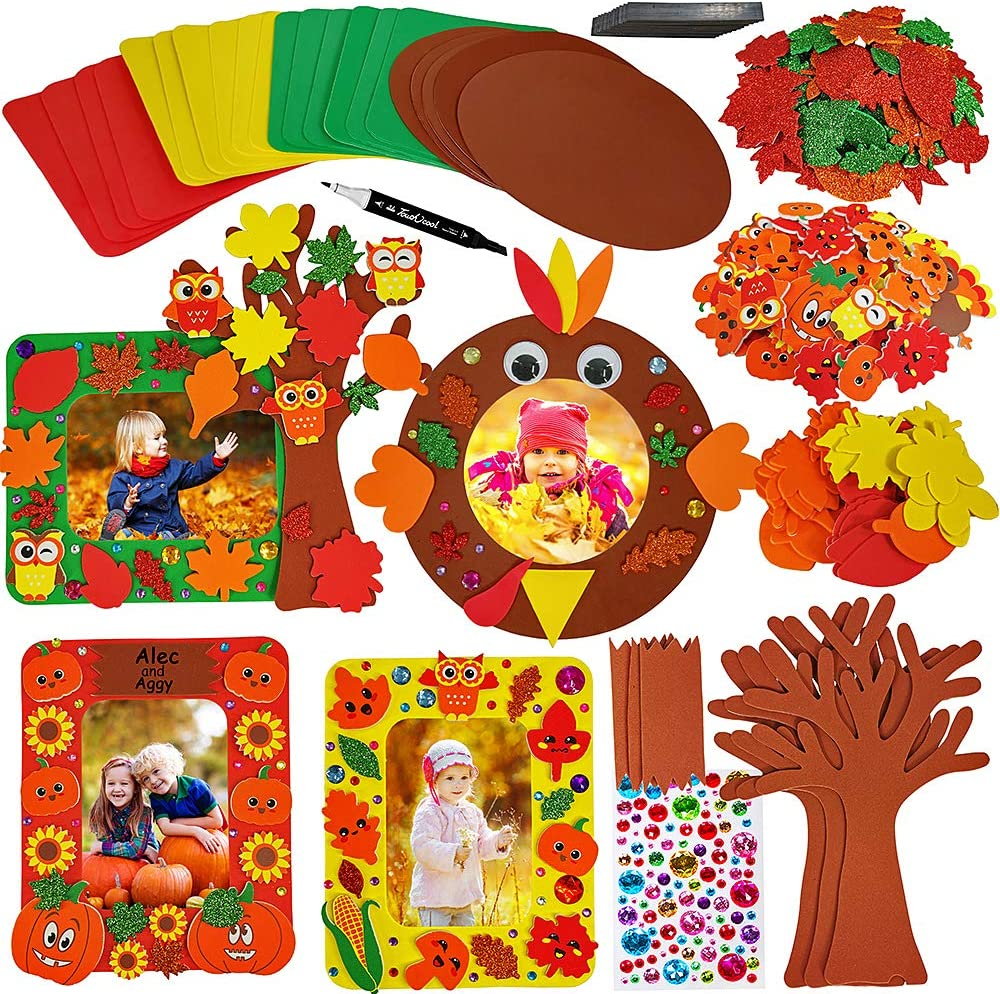Winlyn 12 Sets Fall Picture Photo Foam Frame Craft Kit Foam Tree of Thanks Smile Face Pumpkin Maple Leaf Owl Sunflower Turkey Stickers Self-Adhesive for Kids Classroom Thanksgiving Party Favors