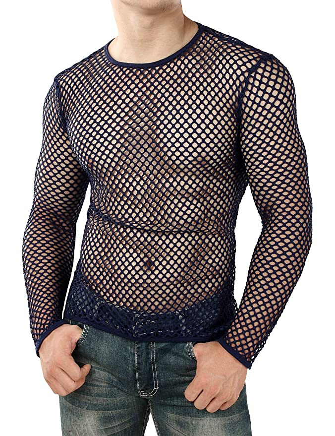 864b9be77e0 Amazon.com  JOGAL Men s Mesh Fishnet Fitted Muscle Top  Clothing