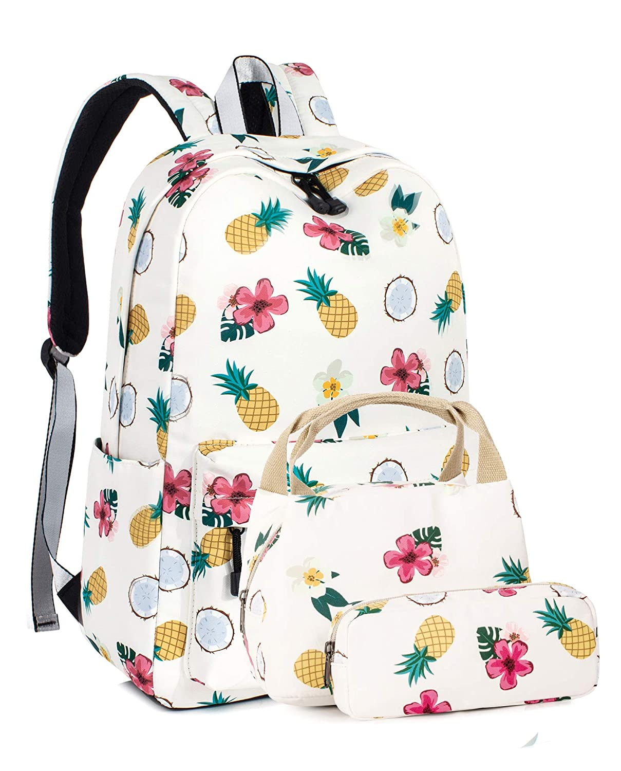 Cute School Girls Backpack, Flower Canvas Laptop Book Insulated Lunch Bag Pencil Case 3PCS Large Beige BP4734