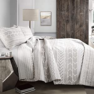 Lush Decor Hygge Geo 3 Piece Quilt Set, Full/Queen, Taupe & White