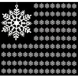 "White Snowflake Ornaments - Bulk Pack of 96 Hanging 3"" Snowflakes - Shatterproof Snowflake Ornaments - Christmas Ornaments"