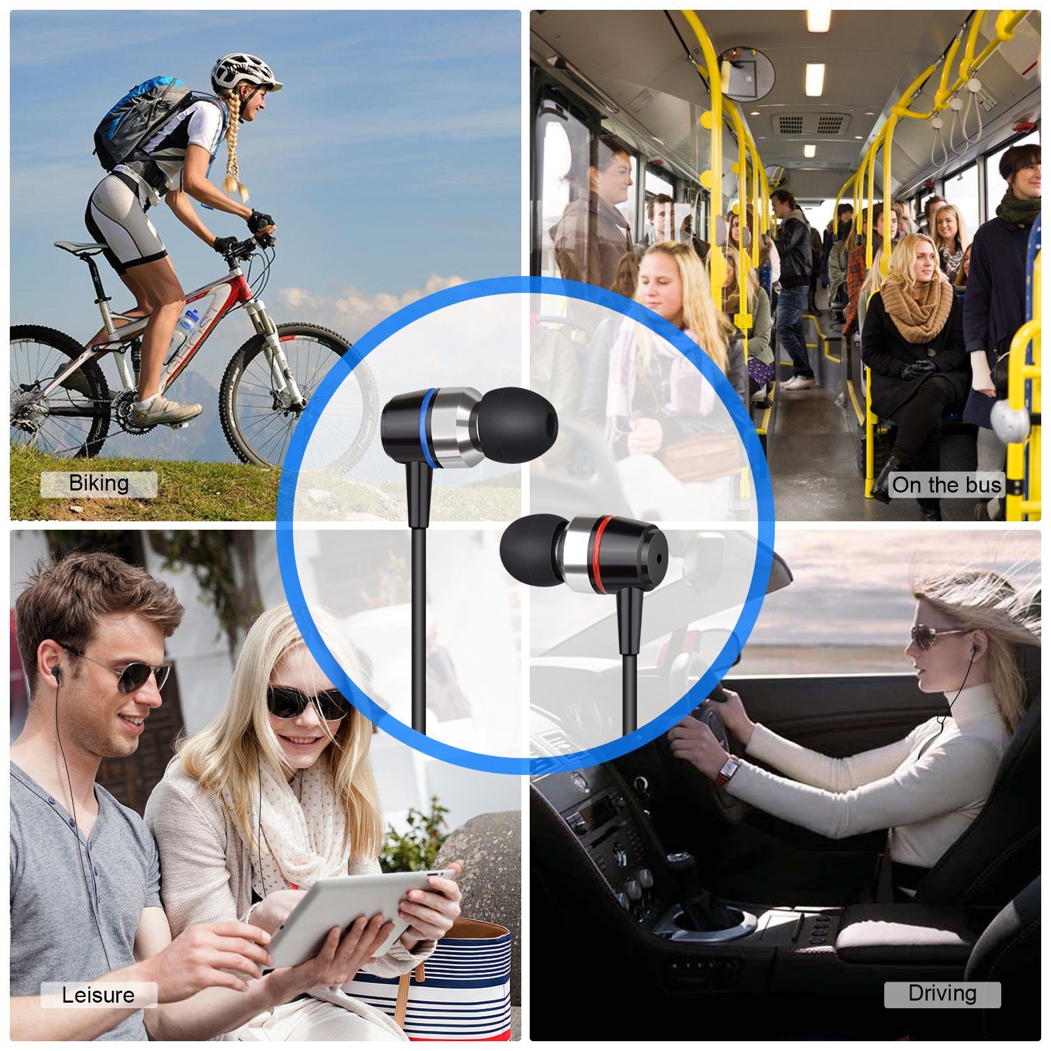Earbuds Stereo Earphones In-Ear Headphones Earbuds with Microphone Mic and Volume Control Noise Isolating Wired Ear buds For iPhone Android Phone iPad Tablet Laptop(Black) by Gsebr (Image #2)