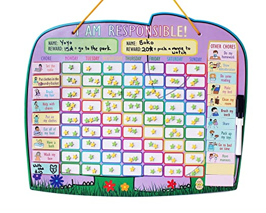 AmazonCom Chore Reward Chart For Multiple Kids With Magnetic