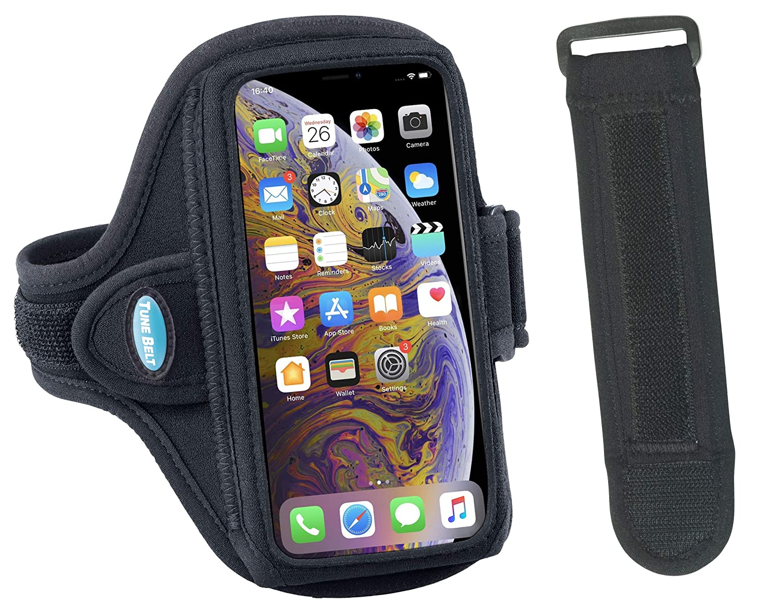 Armband Compatible with iPhone Xs Max, Xr, 8 7 6s 6 Plus, Galaxy S8 S9 Plus and Note 8 9 - for Running & Working Out - Sweat-Resistant for Men & Women [EX3 Armband Extender for Large Arms Included] Tune Belt Inc. AB91EX3
