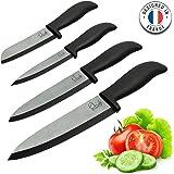 ChefsDeFrance Set de 4 Couteaux Céramique - Édition Prestige Couteaux haut de gamme + 1 livre de cuisine offert - Couteau de Chef