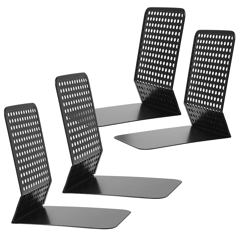 Modern Perforated Style Metal Office 4 Bookends Bookshelf Racks, Set of 2, Black MyGift SHOMHNK004
