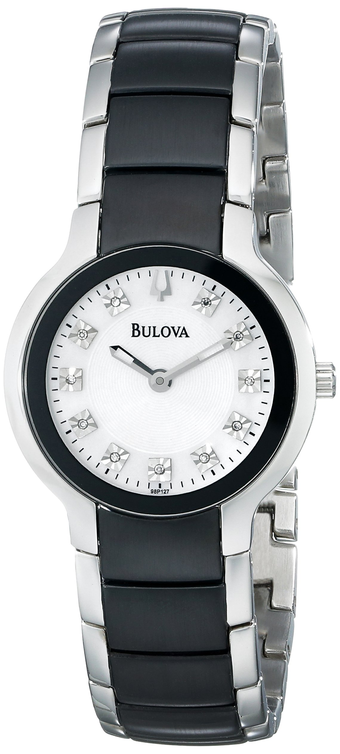 Bulova Women's 98P127 Diamond Black & Silver Ion-Plated Watch by Bulova