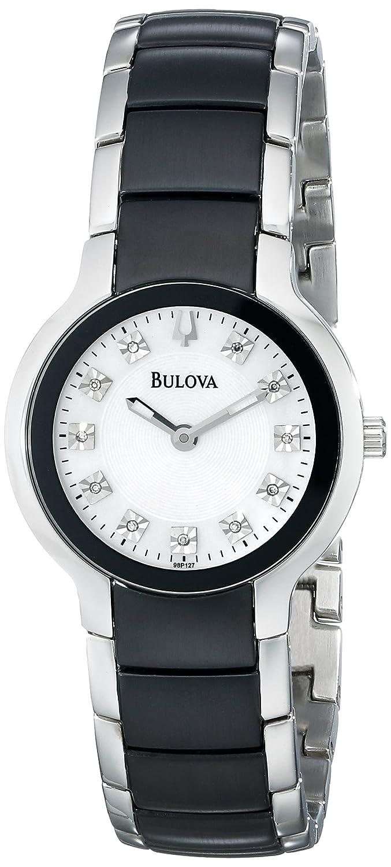 Amazon.com  Bulova Women s 98P127 Diamond Black   Silver Ion-Plated Watch   Bulova  Watches 965226bba8