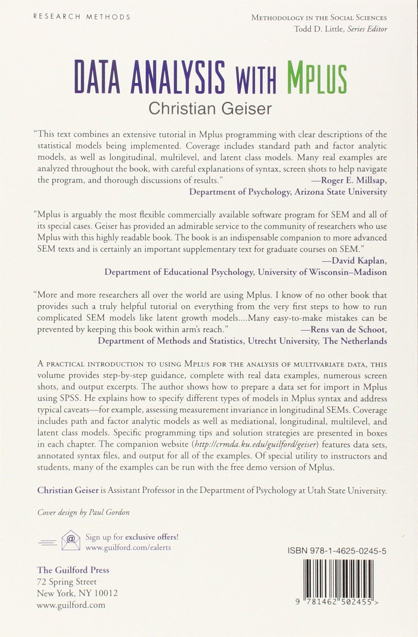 Data Analysis with Mplus Methodology in the Social Sciences: Amazon.de:  Christian Geiser: Fremdsprachige Bücher