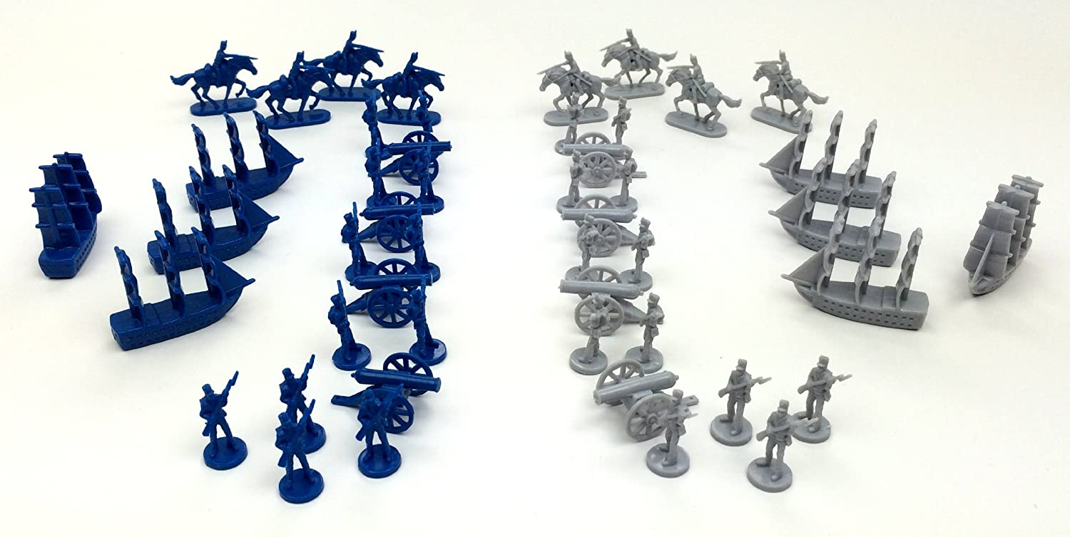 Cavalry Artillery Cannons Civil War Toy Soldiers: Set of 48 Union Blue and Confederate Grey Army Men Miniatures- Infantry and Naval Ships Morrison Games