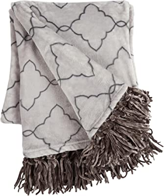 Nantucket Home Lilly & Grace Geometric Fringe Plush Throw Blanket, 50-Inch x 60-Inch (Grey)