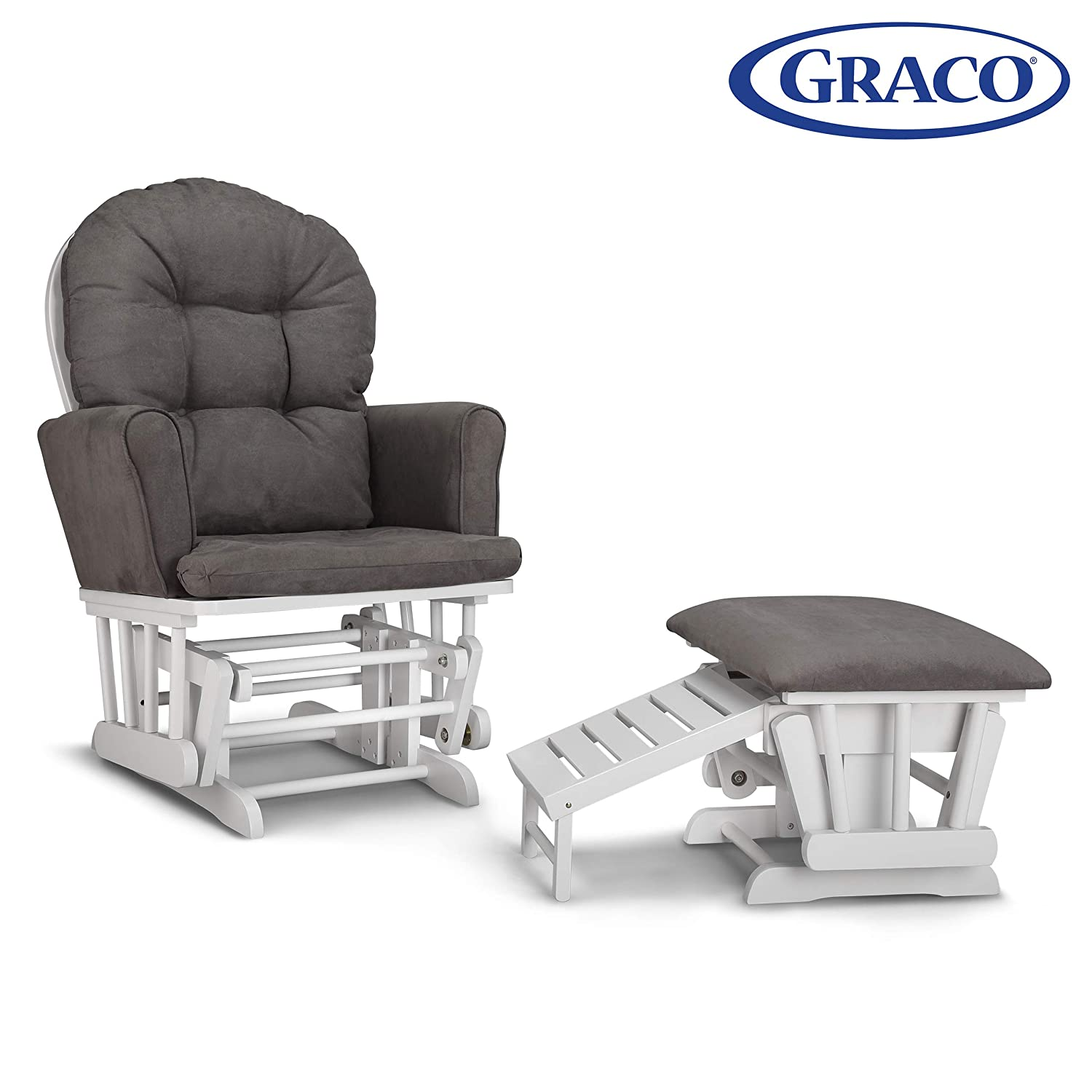 Graco Parker Semi-Upholstered Glider and Nursing Ottoman, White Gray Cleanable Upholstered Comfort Rocking Nursery Chair with Ottoman