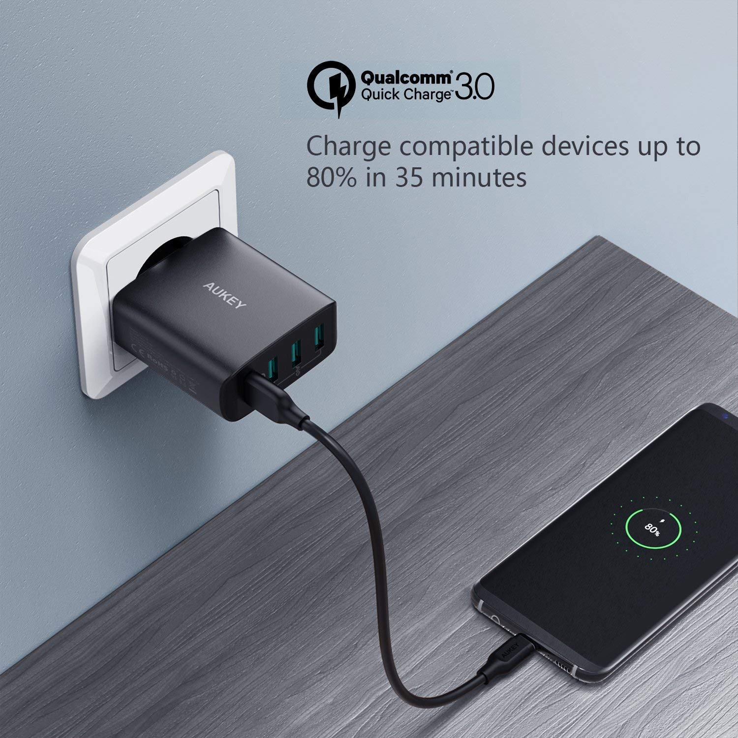 AUKEY Quick Charge 3.0 Cargador Móvil 4 Puertos 42W Cargador de Pared para Samsung Galaxy S9 / S8+ / Note 8, LG, Nexus, HTC, iPhone XS / XS Max / XR y ...