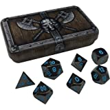 Skull Splitter Dice Icy Doom Metal Dice - Shiny Black Nickel with Blue Numbers | Solid Metal Polyhedral Role Playing Game (RPG) Dice Set (7 Die in Pack) with Awesome Dwarven Chest Dice Case