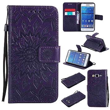 pinlu® Flip Funda de Cuero para Samsung Galaxy Grand Prime (G530) Carcasa con Función de Stent y Ranuras con Patrón de Girasol Cover (Púrpura)