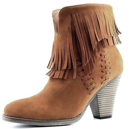 dailyshoes Doble de la Mujer Fringe Alta Parte Superior Tobillo Botines Tacón Western Cowboy Boot: Amazon.es: Zapatos y complementos