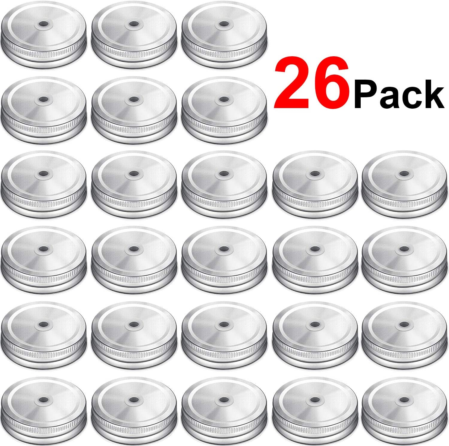 26 Packs Stainless Steel Regular Mouth Mason Silver Jar Lids with Straw Hole Compatible with Mason Jar