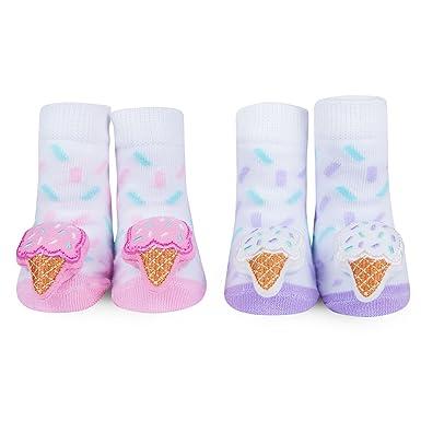 9b3621cd48ca8 Amazon.com: WADDLE Cute Baby Girls Socks Pink Ice Cream Cone Rattle ...