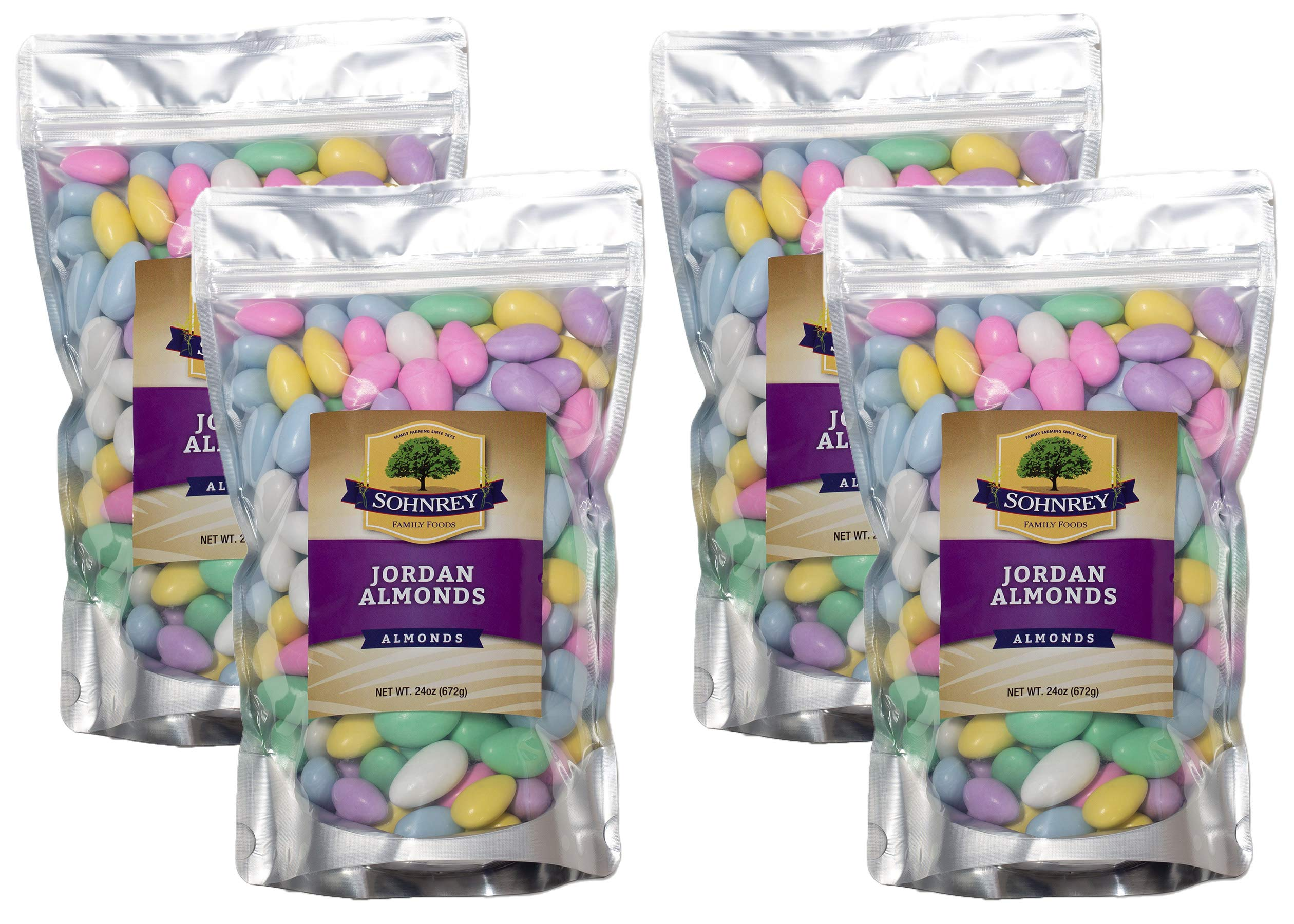 Bulk Jordan Almonds Wedding Holiday Party Favor Candies in Colorful Assorted Pastel Mix 4-Pack of 24 oz pouches (6 Pounds Lbs) by Sohnrey Family Foods by Sohnrey Family Foods