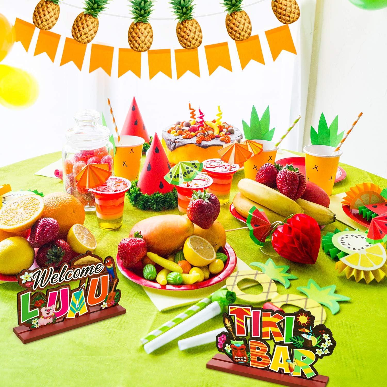 Tropical Summer Hawaiian Birthday Party Baby Shower Yard Decoration Luau Party Signs Aloha Signage Tiki Party Table Decoration Welcome Luau Aloha Lets Hula Tiki Bar Table Centerpiece 3 Pieces