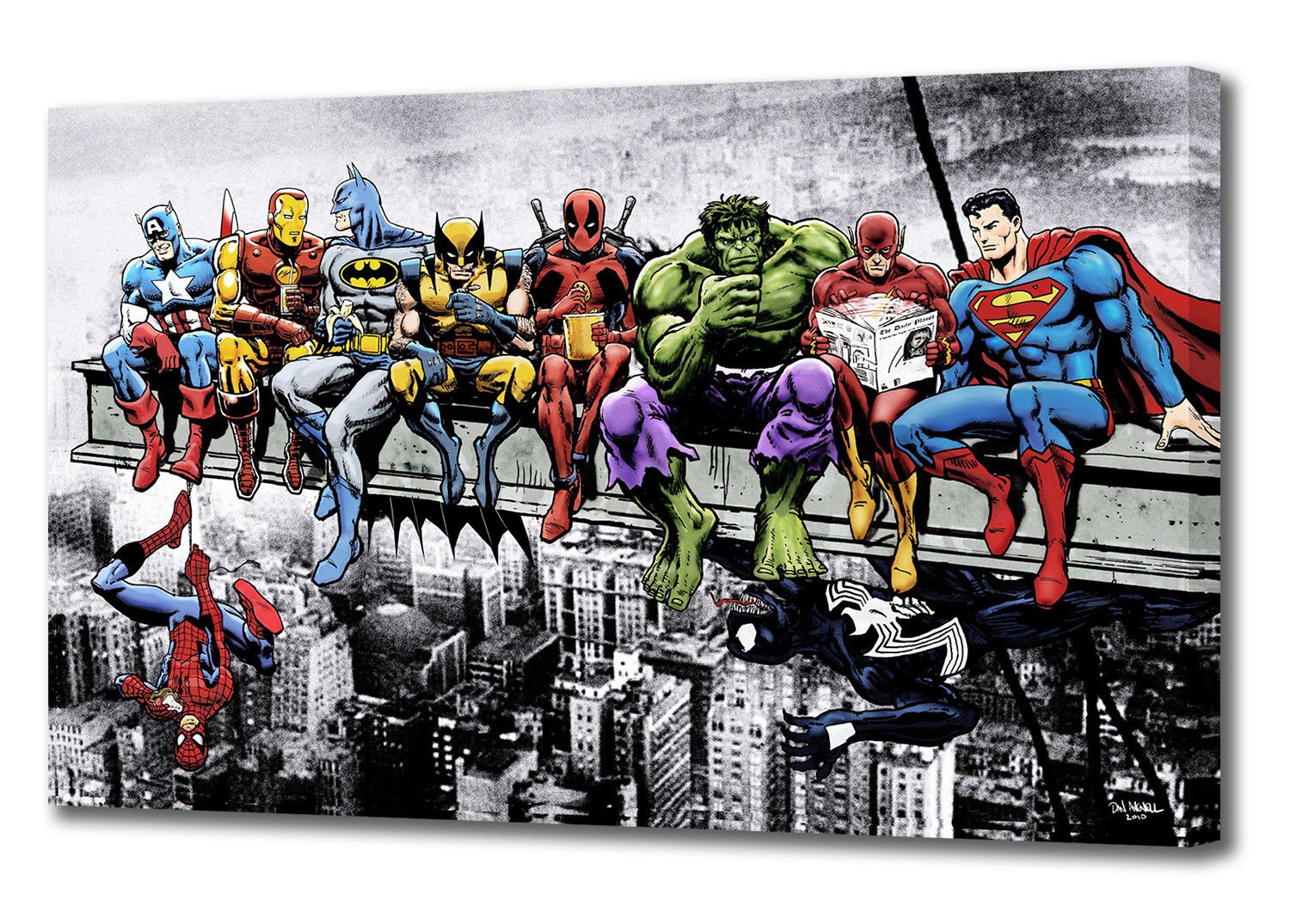 MARVEL DC COMIC SUPERHEROES GIRDER LUNCH ATOP SKYSCRAPER CANVAS ART (44'' x 26'')