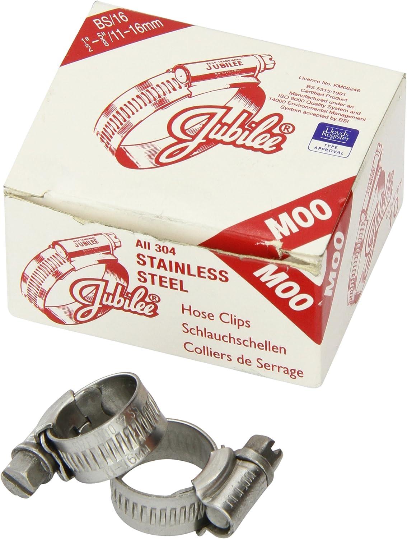 Jubilee 0XSS Standard Schlauchschelle 10er-Set rostfreier Edelstahl 18-25 mm