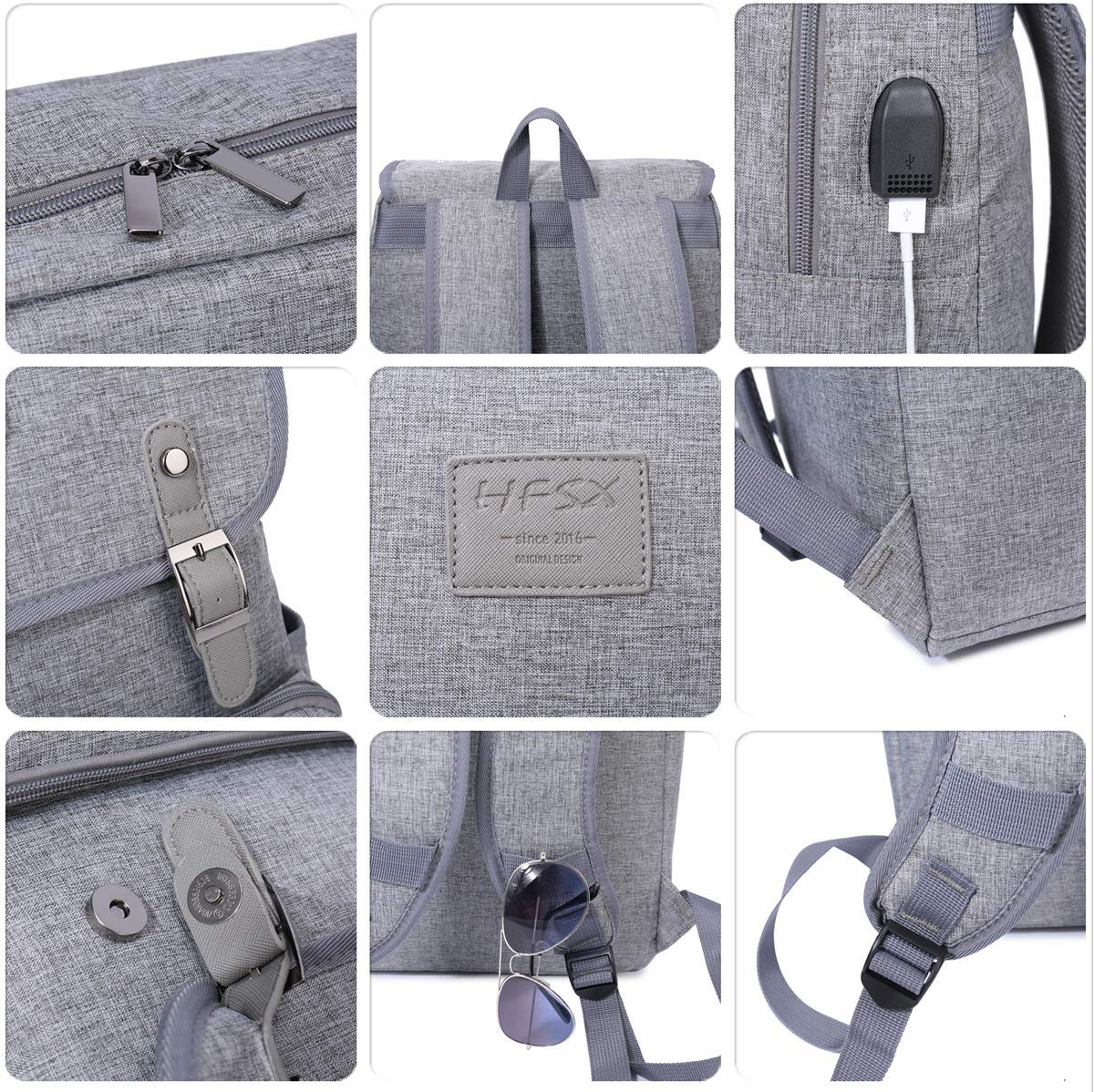 Laptop Backpack Men Women Business Travel Computer Backpack School College Bookbag Stylish Water Resistant Vintage Backpack with USB Port Fashion Grey Fits 15.6 Inch Laptop and Notebook HFSX HSFX-15A8-GREY