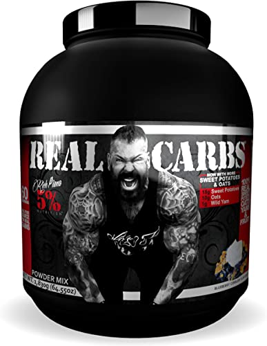 Rich Piana 5 Nutrition Real Carbs with Real Food Complex Carbohydrates, Long-Lasting Low Glycemic Energy for Pre-Workout Post-Workout Recovery Meal, 65.6 oz, 60 Servings Blueberry Cobbler
