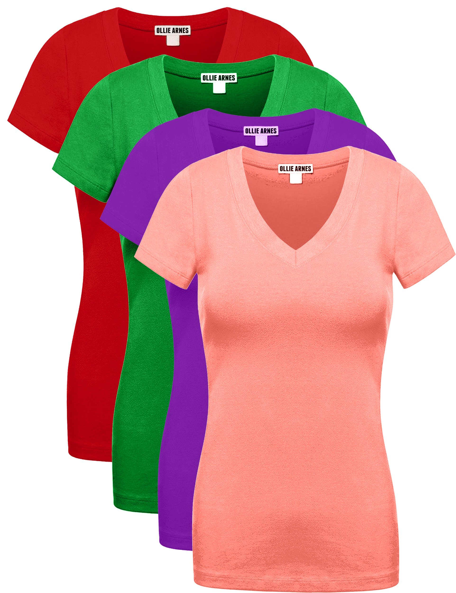 Ollie Arnes Women's 4 Pack Essential Cotton Short Sleeves Solid V-Neck T-Shirts COR_PURP_KGRN_RED S