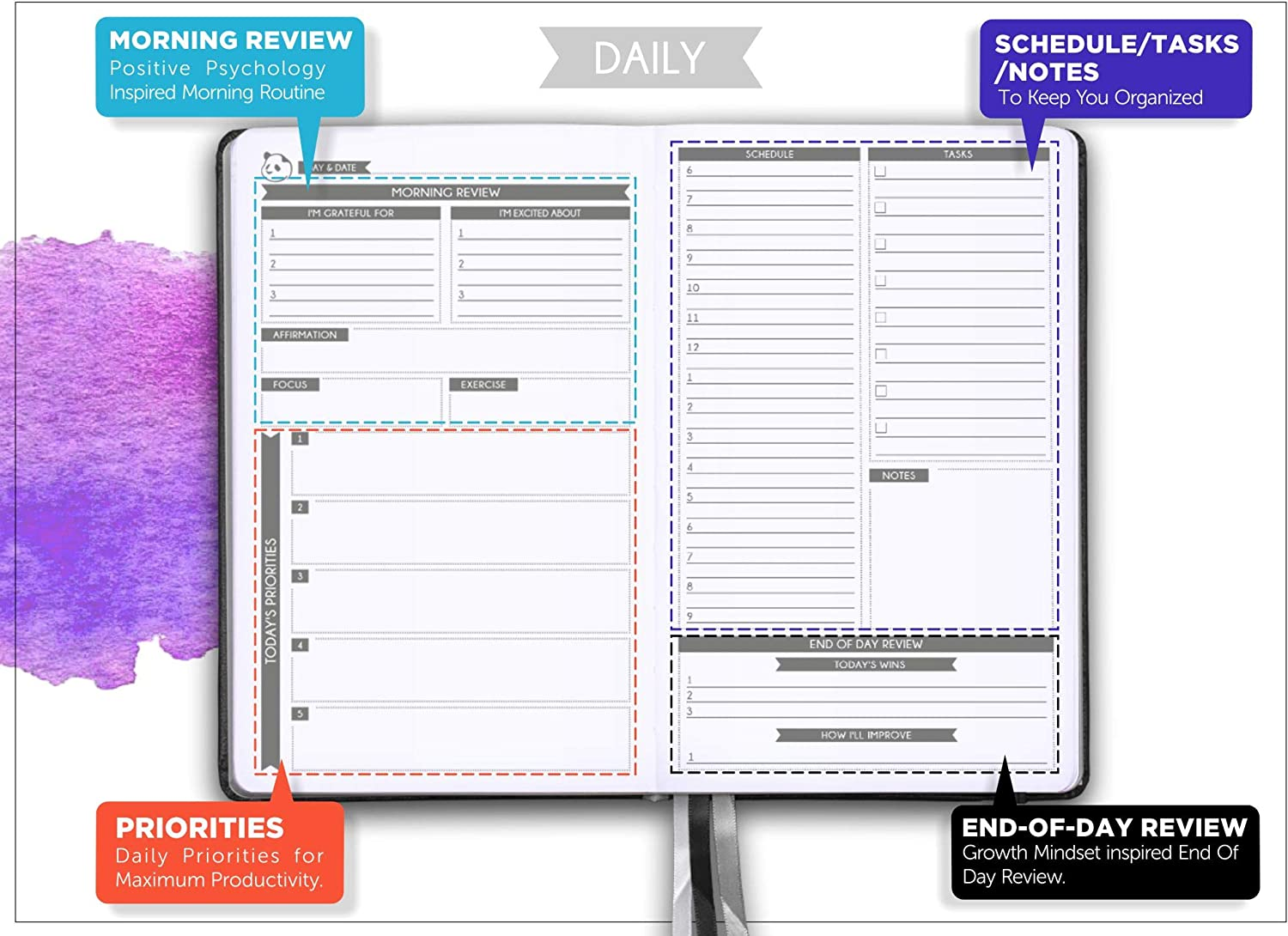 Daily Planner 2019-2020 by Panda Planner   High Performance Time Management Undated Planner   Calendar and Gratitude Journal to Increase Productivity ...