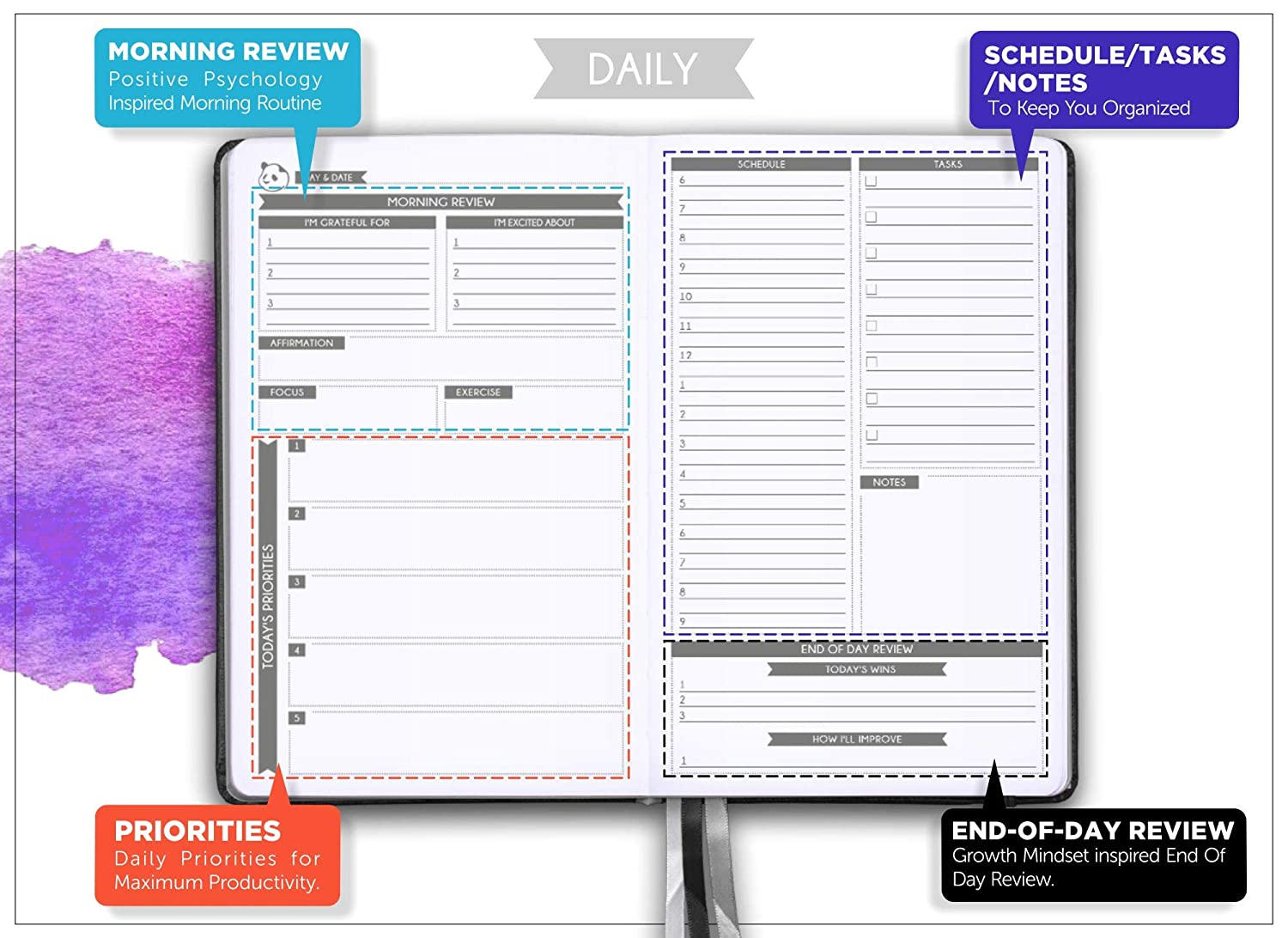 Daily Planner 2019-2020 by Panda Planner | High Performance Time Management  Undated Planner | Calendar and Gratitude Journal to Increase Productivity