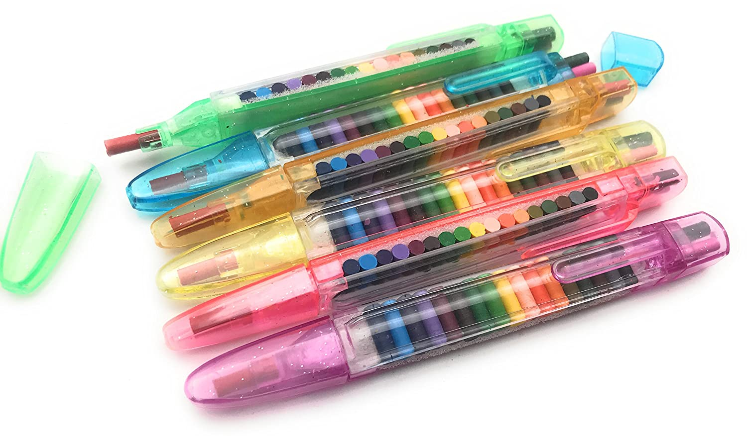 Oojami 12 pack Transparent Glitter Stacking Pens Crayons by